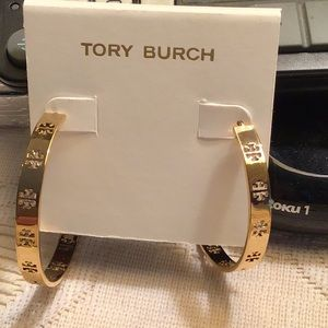 New Tory Burch gold hoops with signature